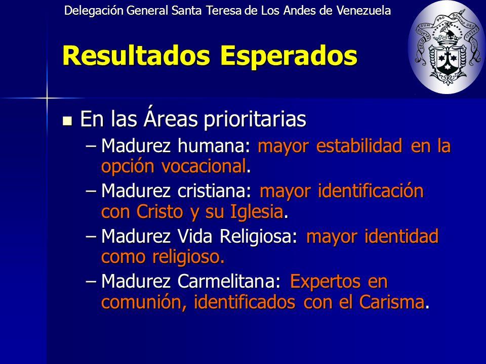 Delegación General Santa Teresa de Los Andes de Venezuela Resultados Esperados En las Áreas prioritarias En las Áreas prioritarias –Madurez humana: mayor estabilidad en la opción vocacional.