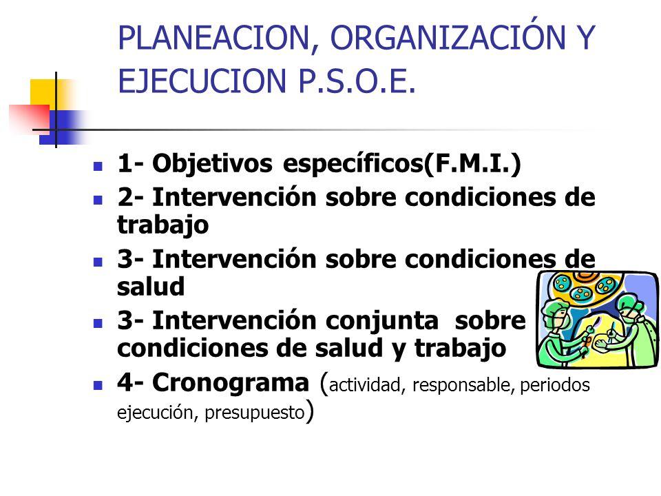 PLANEACION, ORGANIZACIÓN Y EJECUCION P.S.O.E. 1- Objetivos específicos(F.M.I.) 2- Intervención sobre condiciones de trabajo 3- Intervención sobre cond