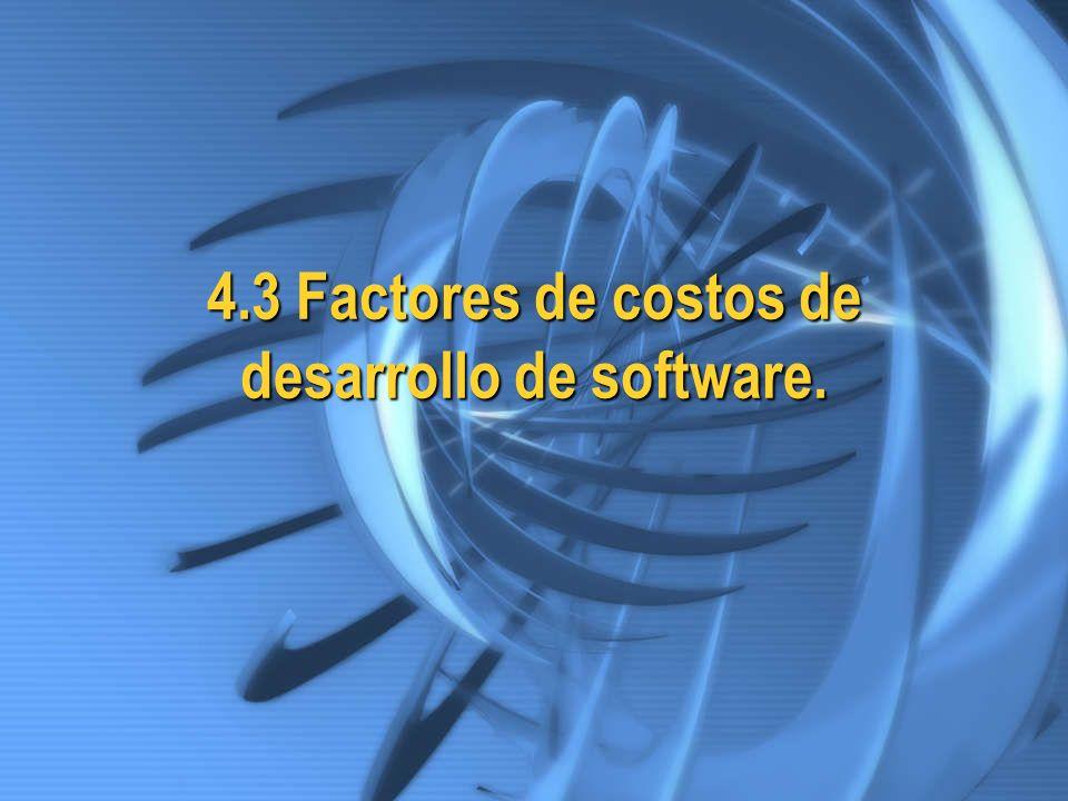 4.3 Factores de costos de desarrollo de software.