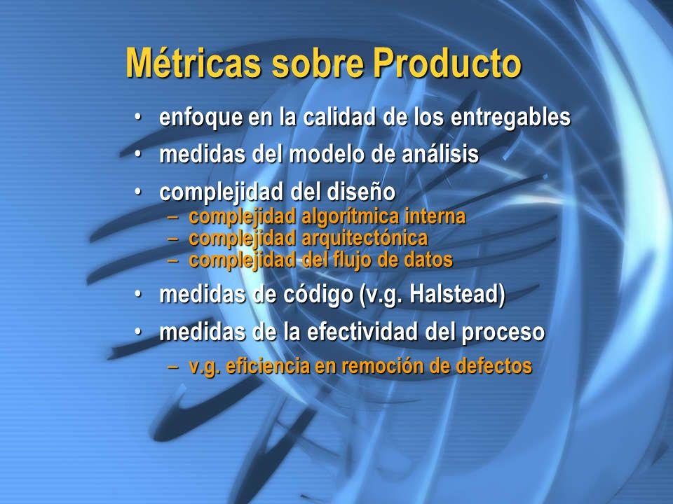 Métricas sobre Producto enfoque en la calidad de los entregables enfoque en la calidad de los entregables medidas del modelo de análisis medidas del m