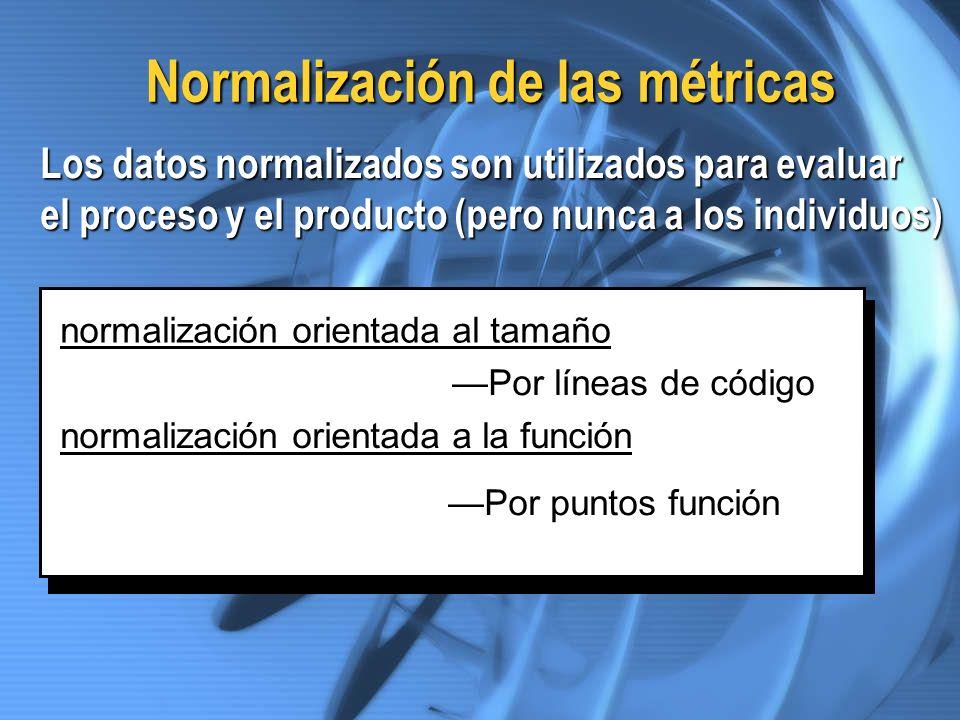 Normalización de las métricas Los datos normalizados son utilizados para evaluar el proceso y el producto (pero nunca a los individuos) normalización