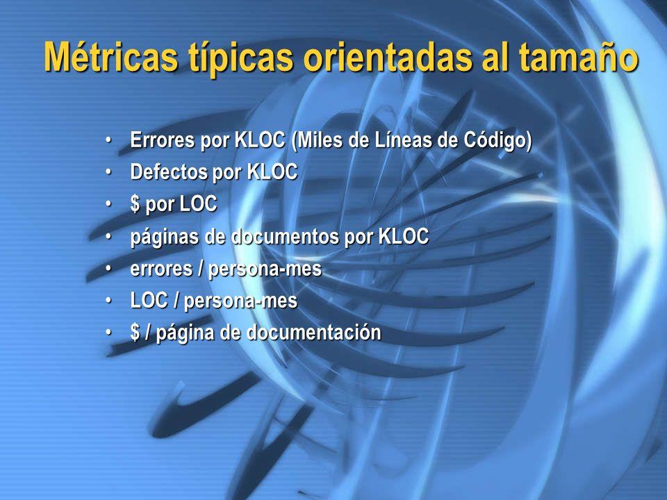Métricas típicas orientadas al tamaño Errores por KLOC (Miles de Líneas de Código) Errores por KLOC (Miles de Líneas de Código) Defectos por KLOC Defe