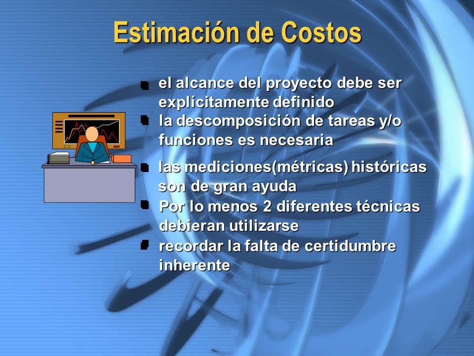 Estimación de Costos el alcance del proyecto debe ser explícitamente definido la descomposición de tareas y/o funciones es necesaria las mediciones(mé