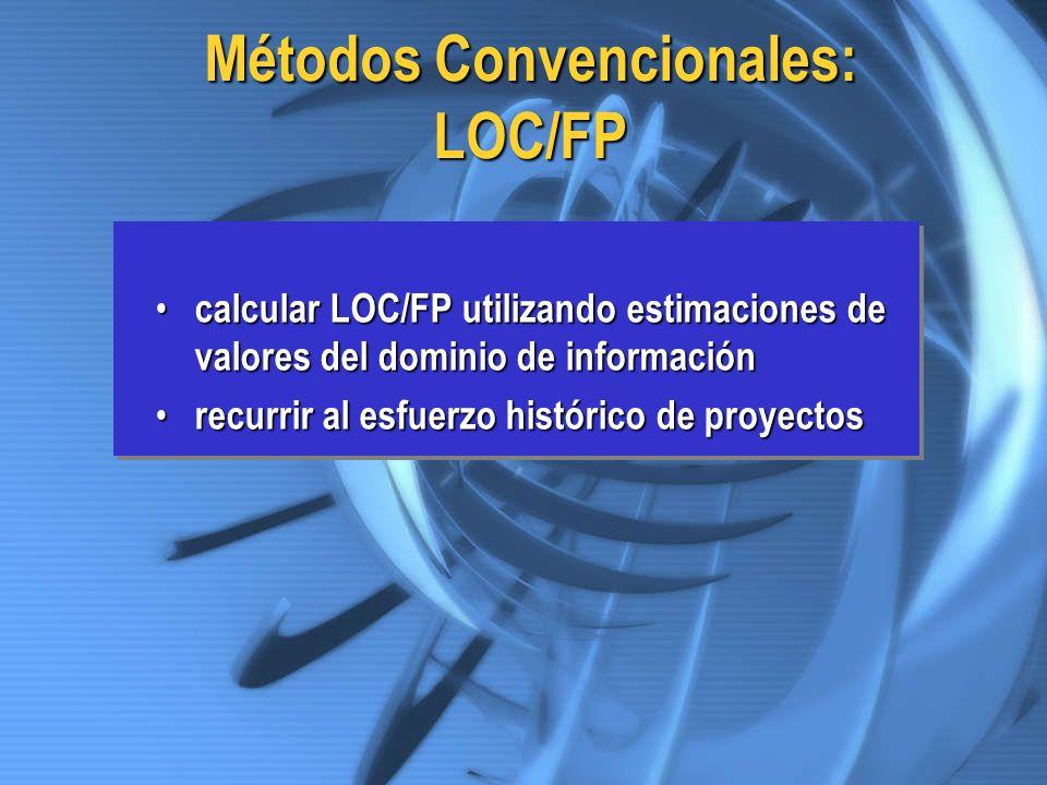 Métodos Convencionales: LOC/FP calcular LOC/FP utilizando estimaciones de valores del dominio de información calcular LOC/FP utilizando estimaciones d