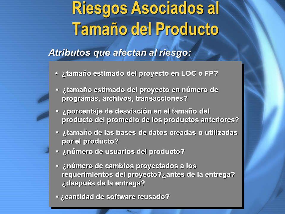Riesgos Asociados al Tamaño del Producto ¿tamaño estimado del proyecto en LOC o FP? ¿tamaño estimado del proyecto en LOC o FP? ¿tamaño estimado del pr