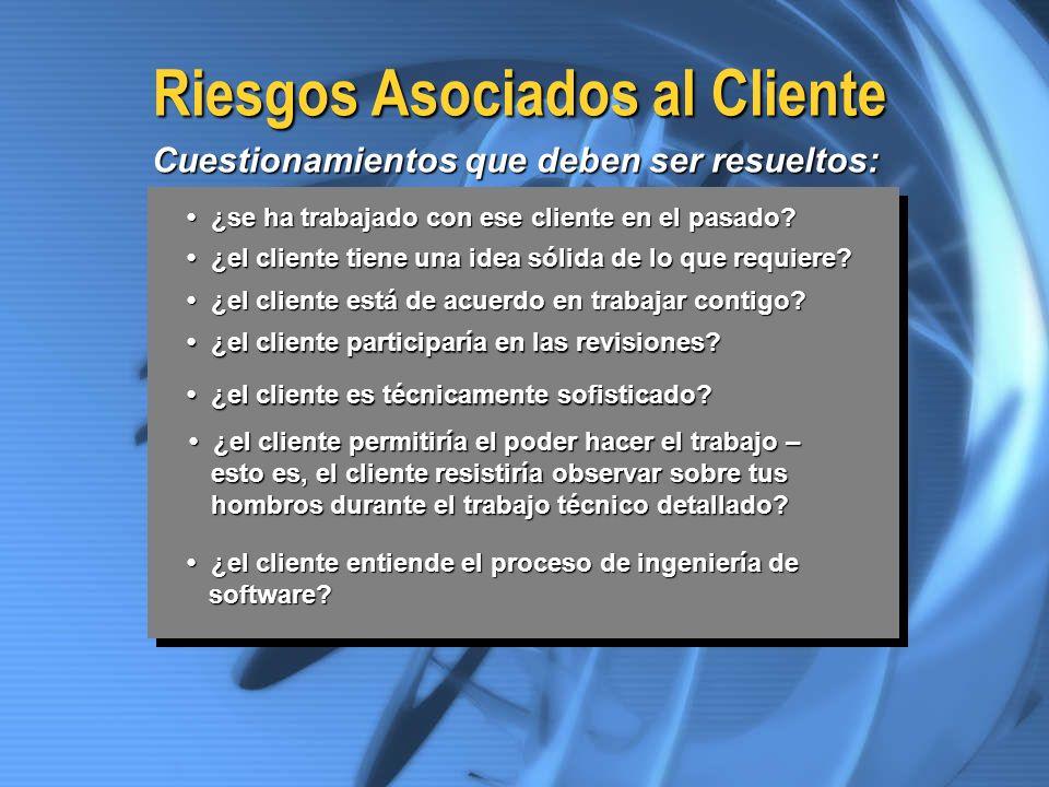 Riesgos Asociados al Cliente ¿se ha trabajado con ese cliente en el pasado? ¿se ha trabajado con ese cliente en el pasado? ¿el cliente tiene una idea