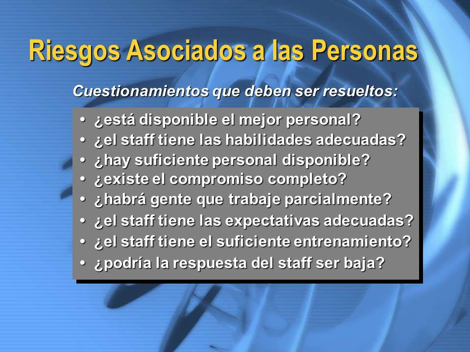 Riesgos Asociados a las Personas ¿está disponible el mejor personal? ¿está disponible el mejor personal? ¿el staff tiene las habilidades adecuadas? ¿e