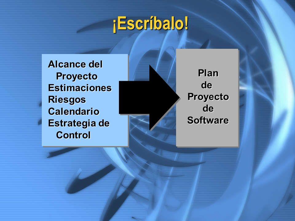 ¡Escríbalo! PlandeProyectodeSoftware Alcance del Proyecto ProyectoEstimacionesRiesgosCalendario Estrategia de Control Control