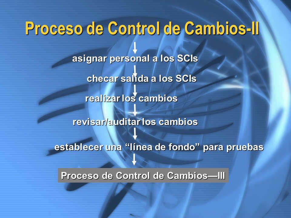 Proceso de Control de Cambios-II asignar personal a los SCIs checar salida a los SCIs realizar los cambios revisar/auditar los cambios establecer una