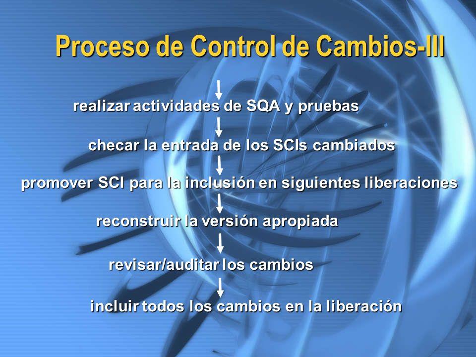 Proceso de Control de Cambios-III realizar actividades de SQA y pruebas promover SCI para la inclusión en siguientes liberaciones reconstruir la versi