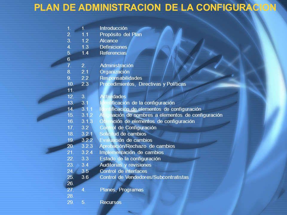 1.1. Introducción 2.1.1 Propósito del Plan 3.1.2 Alcance 4.1.3 Definiciones 5.1.4 Referencias 6. 7.2. Administración 8.2.1 Organización 9.2.2 Responsa