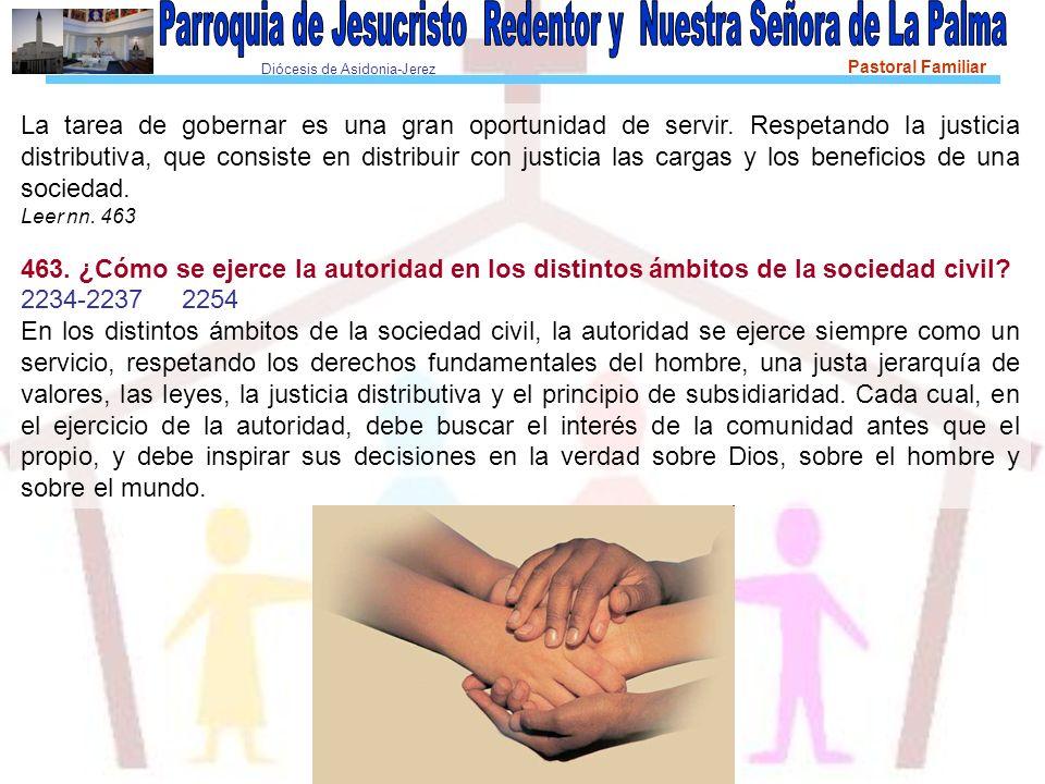 Diócesis de Asidonia-Jerez Pastoral Familiar La tarea de gobernar es una gran oportunidad de servir. Respetando la justicia distributiva, que consiste