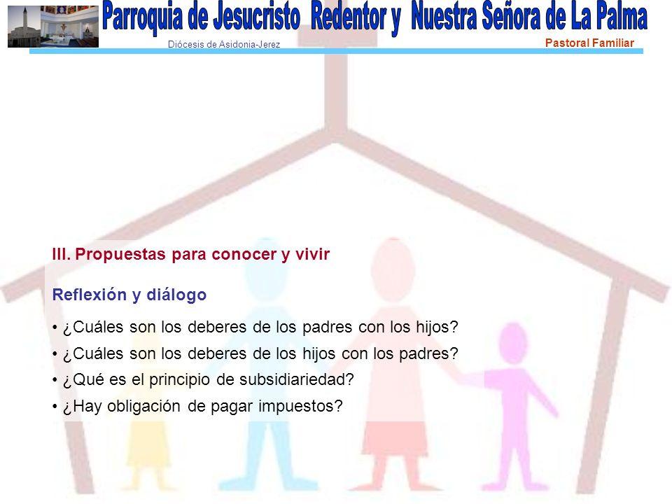 Diócesis de Asidonia-Jerez Pastoral Familiar III. Propuestas para conocer y vivir Reflexión y diálogo ¿Cuáles son los deberes de los padres con los hi