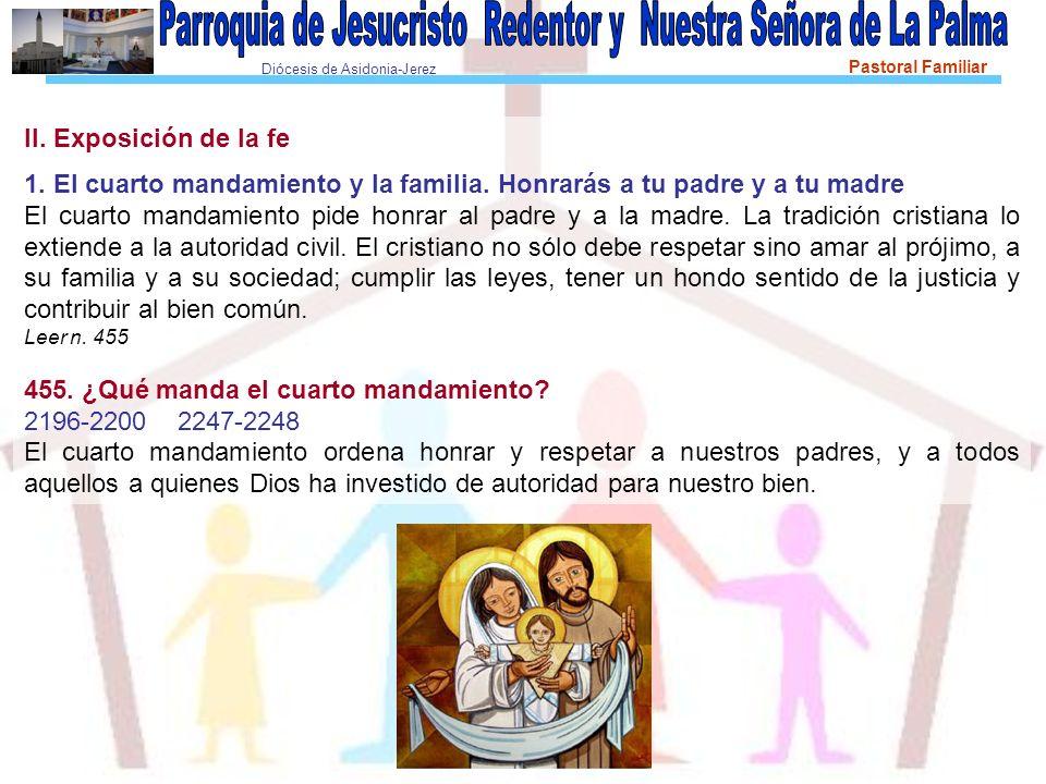 Diócesis de Asidonia-Jerez Pastoral Familiar II. Exposición de la fe 1. El cuarto mandamiento y la familia. Honrarás a tu padre y a tu madre El cuarto