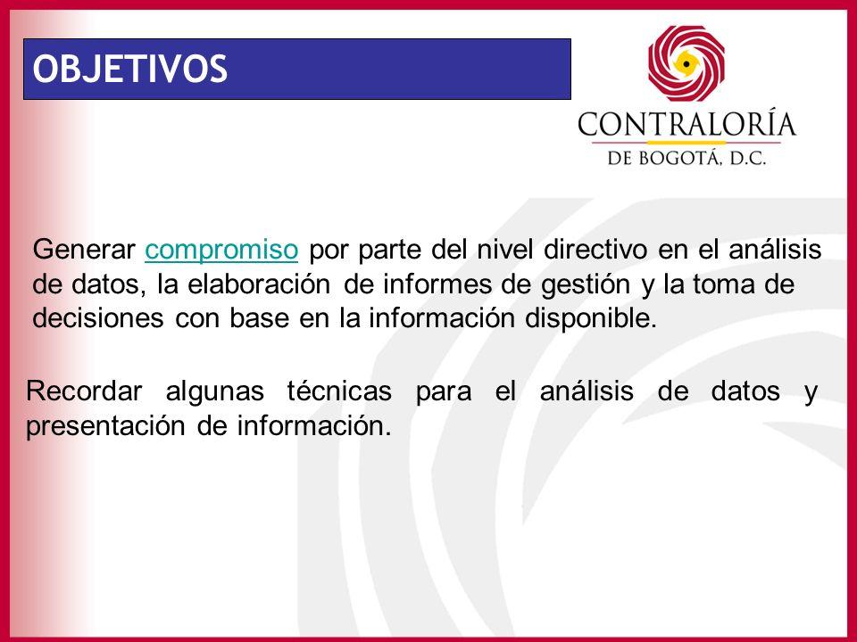 OBJETIVOS Generar compromiso por parte del nivel directivo en el análisis de datos, la elaboración de informes de gestión y la toma de decisiones con base en la información disponible.