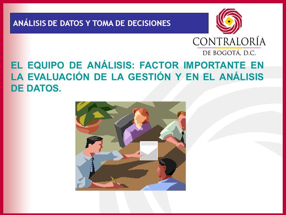 ANÁLISIS DE DATOS Y TOMA DE DECISIONES EL EQUIPO DE ANÁLISIS: FACTOR IMPORTANTE EN LA EVALUACIÓN DE LA GESTIÓN Y EN EL ANÁLISIS DE DATOS.