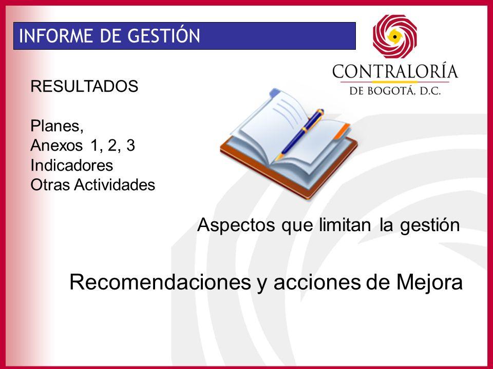 INFORME DE GESTIÓN RESULTADOS Planes, Anexos 1, 2, 3 Indicadores Otras Actividades Recomendaciones y acciones de Mejora Aspectos que limitan la gestión