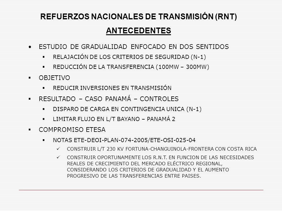 REFUERZOS NACIONALES DE TRANSMISIÓN (RNT) ANTECEDENTES ESTUDIO DE GRADUALIDAD ENFOCADO EN DOS SENTIDOS RELAJACIÓN DE LOS CRITERIOS DE SEGURIDAD (N-1) REDUCCIÓN DE LA TRANSFERENCIA (100MW – 300MW) OBJETIVO REDUCIR INVERSIONES EN TRANSMISIÓN RESULTADO – CASO PANAMÁ – CONTROLES DISPARO DE CARGA EN CONTINGENCIA UNICA (N-1) LIMITAR FLUJO EN L/T BAYANO – PANAMÁ 2 COMPROMISO ETESA NOTAS ETE-DEOI-PLAN-074-2005/ETE-OSI-025-04 CONSTRUIR L/T 230 KV FORTUNA-CHANGUINOLA-FRONTERA CON COSTA RICA CONSTRUIR OPORTUNAMENTE LOS R.N.T.