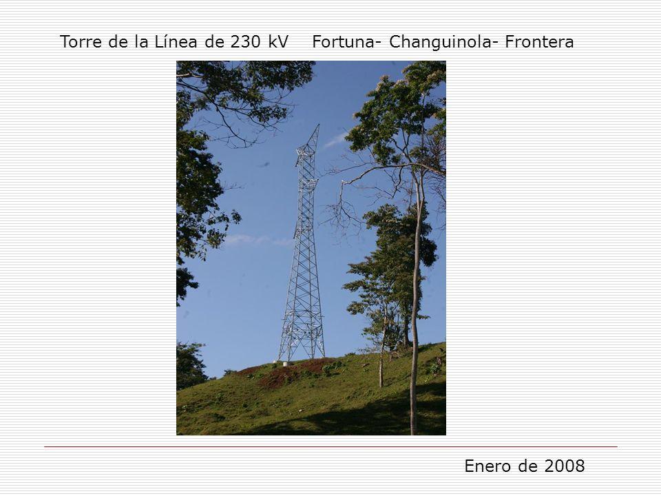 Torre de la Línea de 230 kV Fortuna- Changuinola- Frontera Enero de 2008