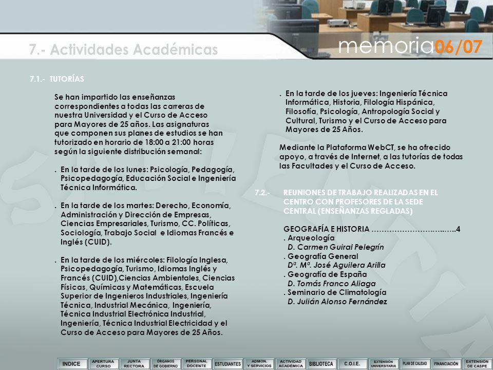 7.1.- TUTORÍAS Se han impartido las enseñanzas correspondientes a todas las carreras de nuestra Universidad y el Curso de Acceso para Mayores de 25 añ