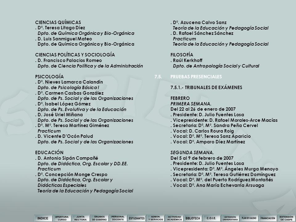 CIENCIAS QUÍMICAS. Dª. Teresa Litago Díez Dpto. de Química Orgánica y Bio-Orgánica. D. Luis Sanmiguel Mateo Dpto. de Química Orgánica y Bio-Orgánica C