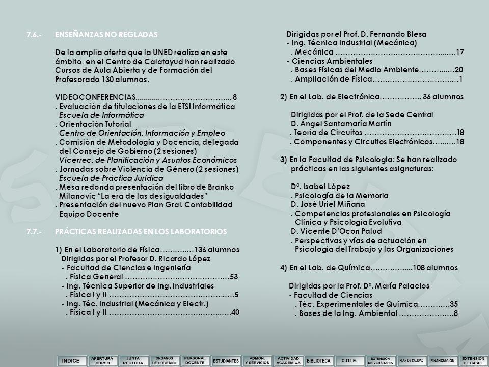 7.6.-ENSEÑANZAS NO REGLADAS De la amplia oferta que la UNED realiza en este ámbito, en el Centro de Calatayud han realizado Cursos de Aula Abierta y d