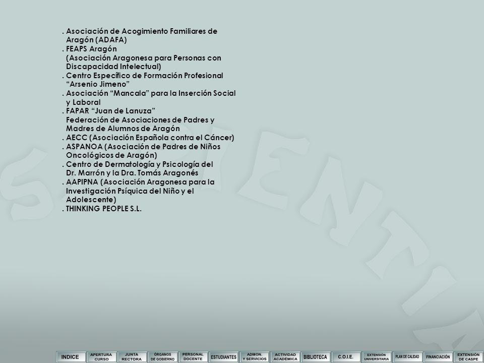 . Asociación de Acogimiento Familiares de Aragón (ADAFA). FEAPS Aragón (Asociación Aragonesa para Personas con Discapacidad Intelectual). Centro Espec