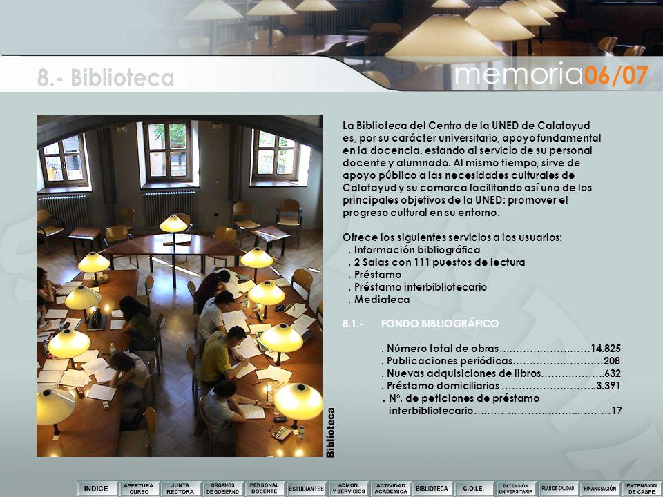 La Biblioteca del Centro de la UNED de Calatayud es, por su carácter universitario, apoyo fundamental en la docencia, estando al servicio de su person