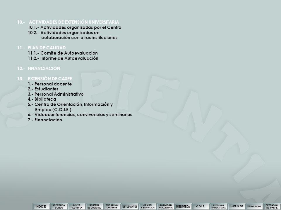 10.- ACTIVIDADES DE EXTENSIÓN UNIVERSITARIA 10.1.- Actividades organizadas por el Centro 10.2.- Actividades organizadas en colaboración con otras inst