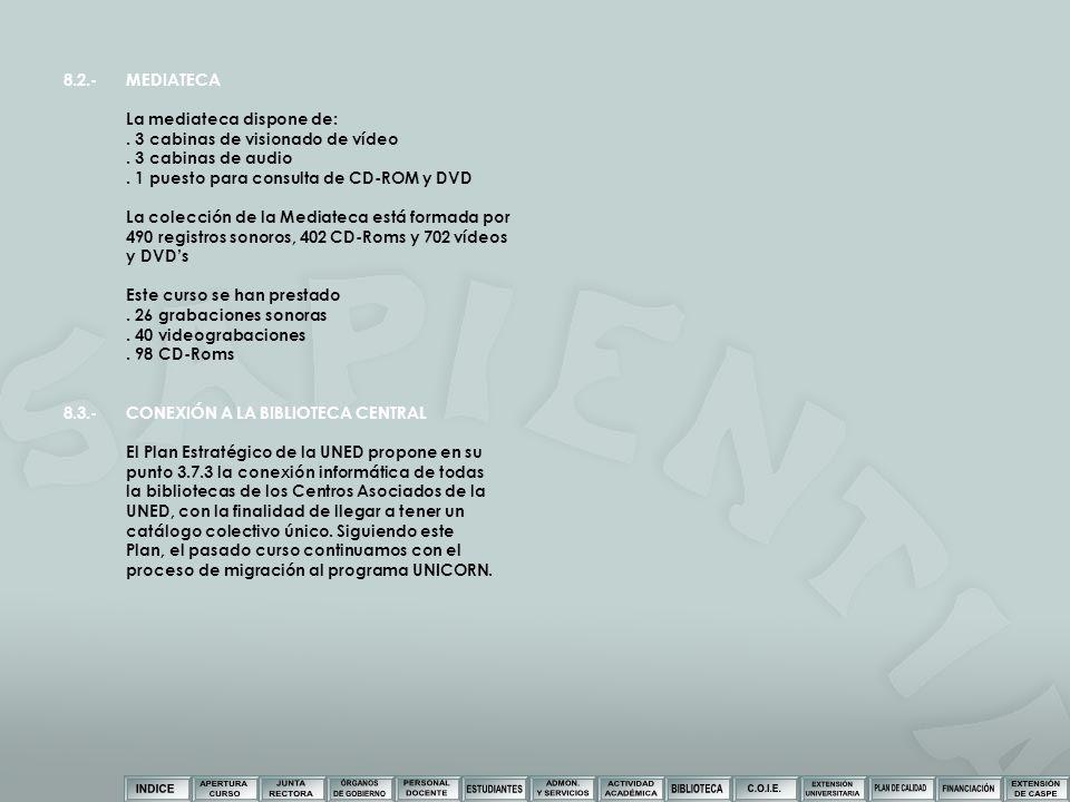 8.2.-MEDIATECA La mediateca dispone de:. 3 cabinas de visionado de vídeo. 3 cabinas de audio. 1 puesto para consulta de CD-ROM y DVD La colección de l