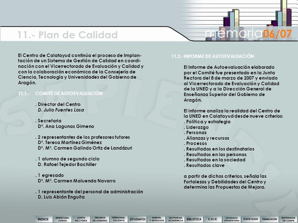 El Centro de Calatayud continúa el proceso de Implan- tación de un Sistema de Gestión de Calidad en coordi- nación con el Vicerrectorado de Evaluación