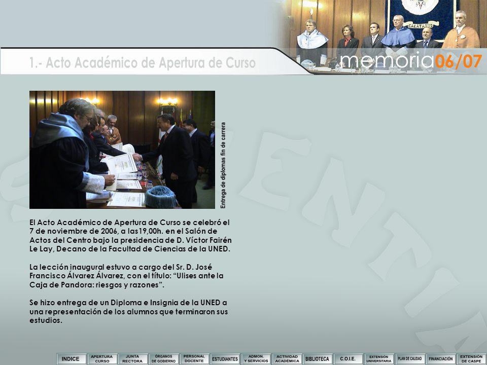 El Acto Académico de Apertura de Curso se celebró el 7 de noviembre de 2006, a las19,00h. en el Salón de Actos del Centro bajo la presidencia de D. Ví