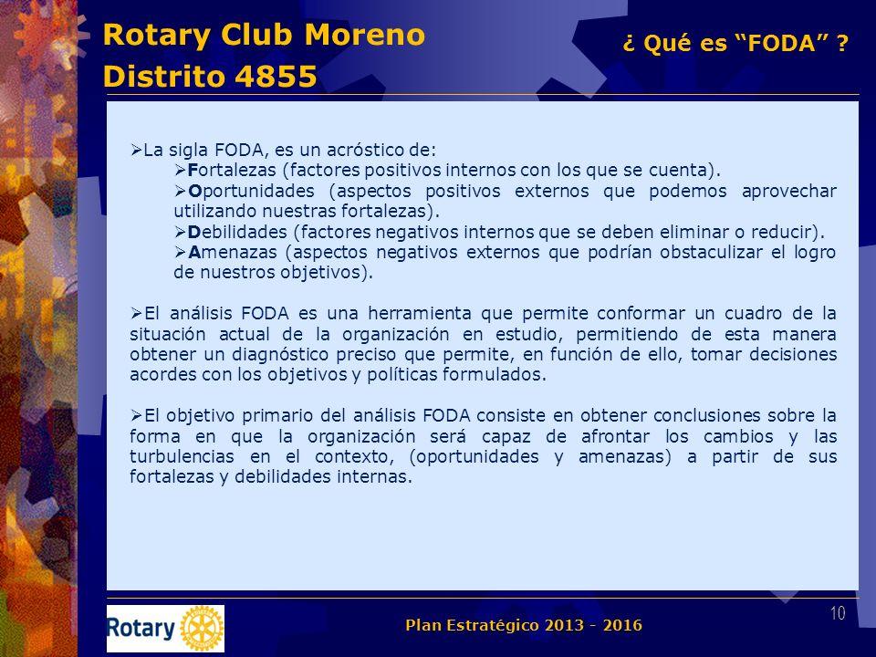 Rotary Club Moreno Distrito 4855 La sigla FODA, es un acróstico de: Fortalezas (factores positivos internos con los que se cuenta). Oportunidades (asp