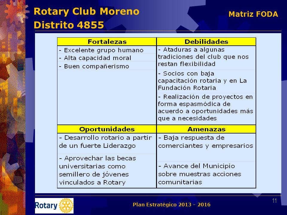 Rotary Club Moreno Distrito 4855 11 Plan Estratégico 2013 - 2016 Matriz FODA