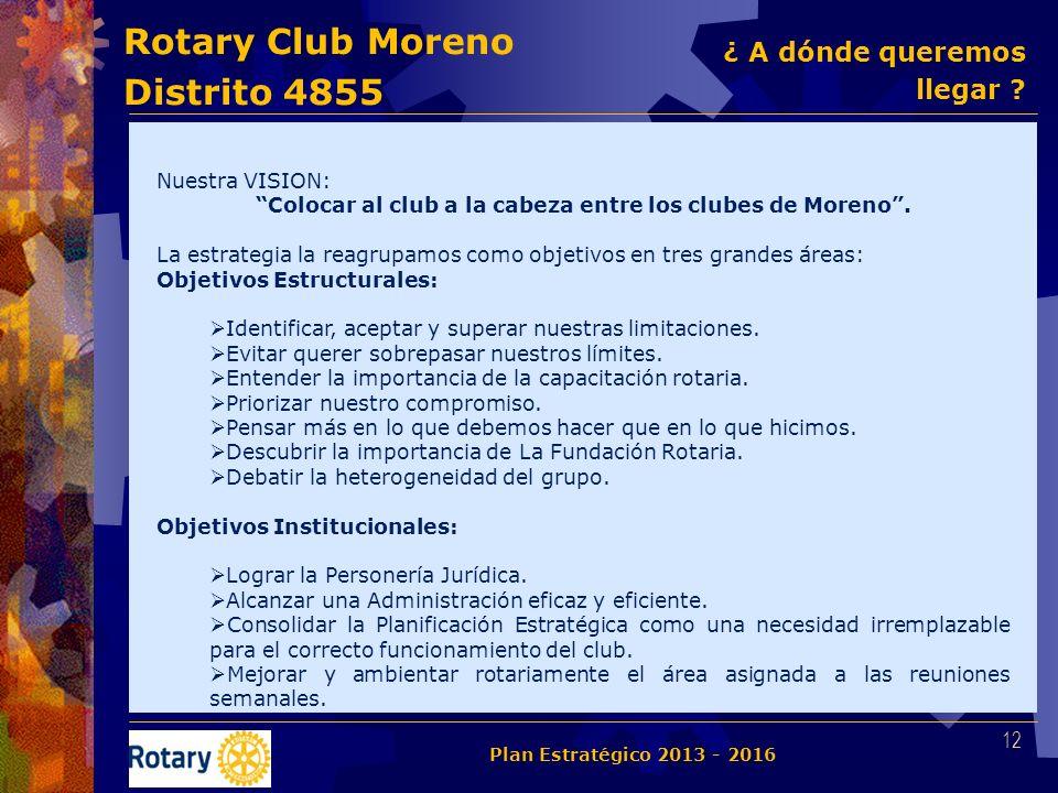 Rotary Club Moreno Distrito 4855 Nuestra VISION: Colocar al club a la cabeza entre los clubes de Moreno. La estrategia la reagrupamos como objetivos e