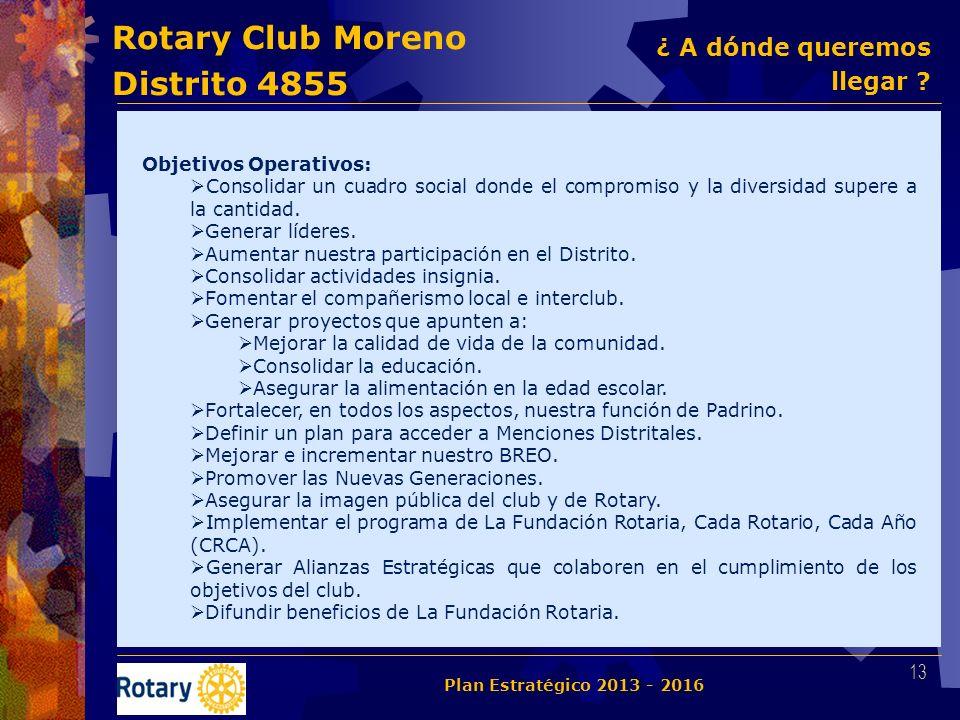 Rotary Club Moreno Distrito 4855 Objetivos Operativos: Consolidar un cuadro social donde el compromiso y la diversidad supere a la cantidad. Generar l