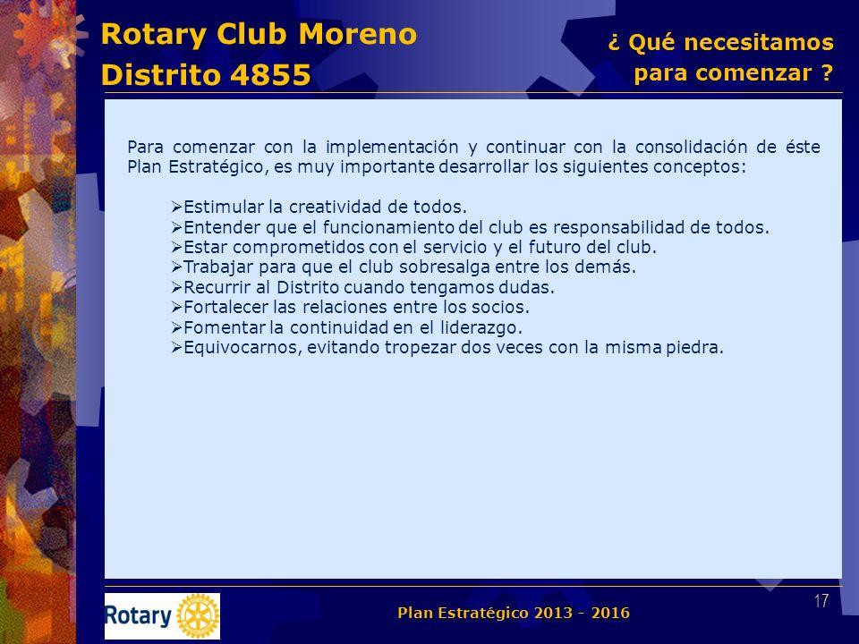 Rotary Club Moreno Distrito 4855 Para comenzar con la implementación y continuar con la consolidación de éste Plan Estratégico, es muy importante desa