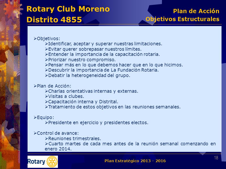 Rotary Club Moreno Distrito 4855 Objetivos: Identificar, aceptar y superar nuestras limitaciones. Evitar querer sobrepasar nuestros límites. Entender