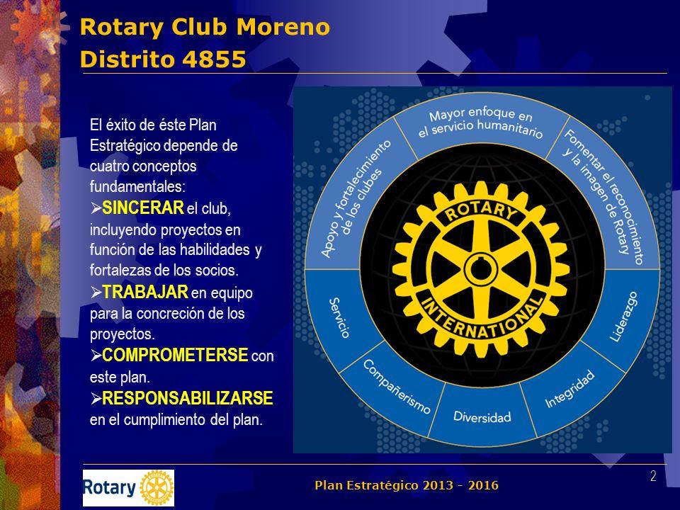 Rotary Club Moreno Distrito 4855 2 El éxito de éste Plan Estratégico depende de cuatro conceptos fundamentales: SINCERAR el club, incluyendo proyectos