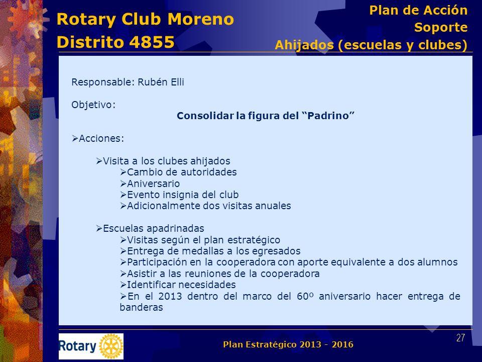 Rotary Club Moreno Distrito 4855 Responsable: Rubén Elli Objetivo: Consolidar la figura del Padrino Acciones: Visita a los clubes ahijados Cambio de a