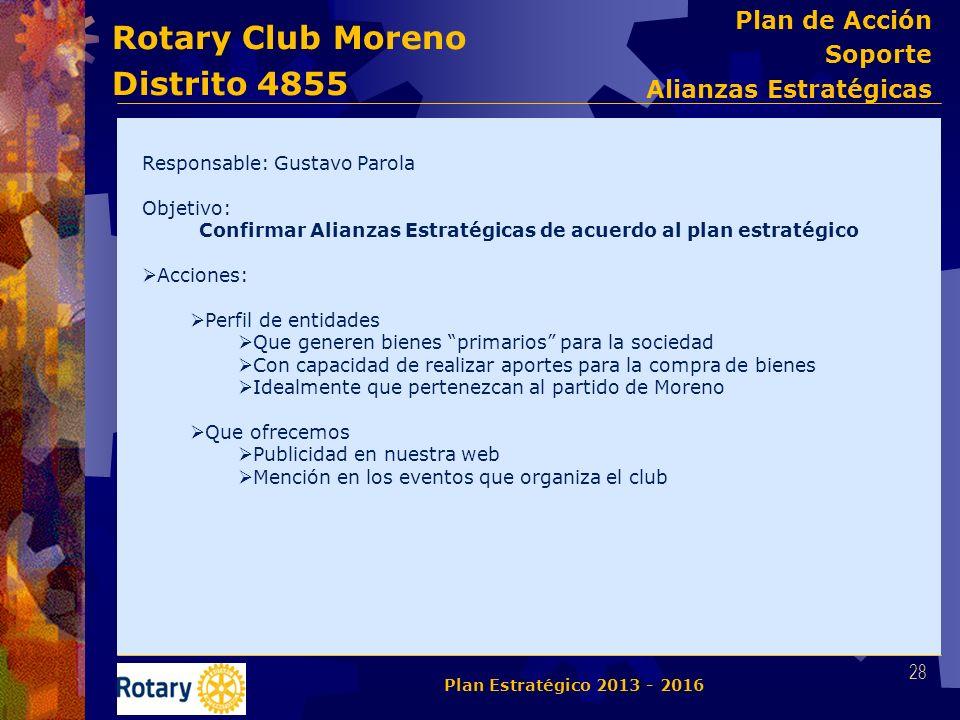 Rotary Club Moreno Distrito 4855 Responsable: Gustavo Parola Objetivo: Confirmar Alianzas Estratégicas de acuerdo al plan estratégico Acciones: Perfil