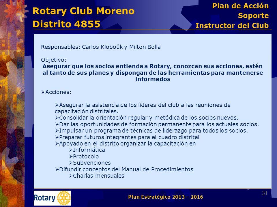 Rotary Club Moreno Distrito 4855 Responsables: Carlos Kloboûk y Milton Bolla Objetivo: Asegurar que los socios entienda a Rotary, conozcan sus accione