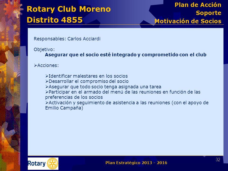 Rotary Club Moreno Distrito 4855 Responsables: Carlos Acciardi Objetivo: Asegurar que el socio esté integrado y comprometido con el club Acciones: Ide