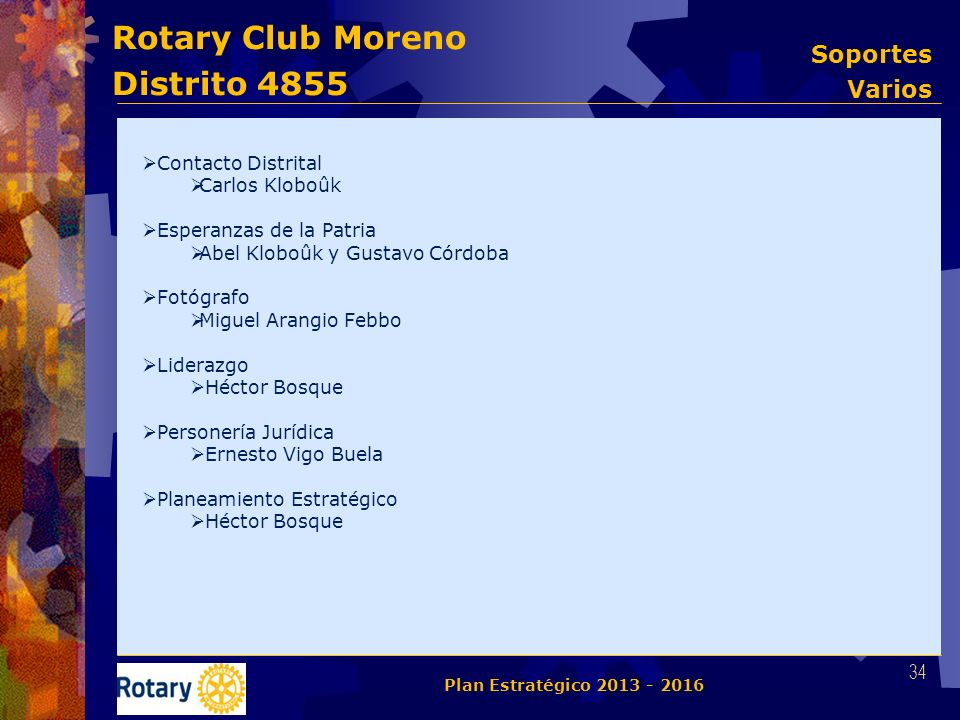 Rotary Club Moreno Distrito 4855 Contacto Distrital Carlos Kloboûk Esperanzas de la Patria Abel Kloboûk y Gustavo Córdoba Fotógrafo Miguel Arangio Feb