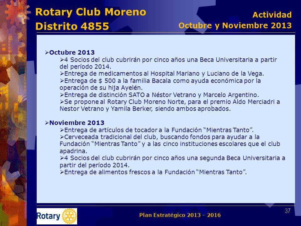 Rotary Club Moreno Distrito 4855 Octubre 2013 4 Socios del club cubrirán por cinco años una Beca Universitaria a partir del período 2014. Entrega de m