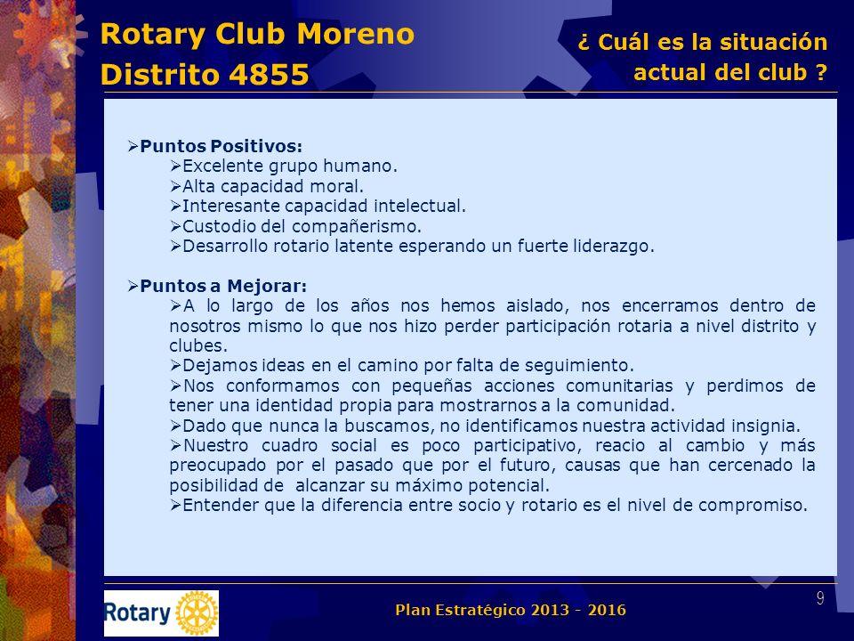 Rotary Club Moreno Distrito 4855 Puntos Positivos: Excelente grupo humano. Alta capacidad moral. Interesante capacidad intelectual. Custodio del compa