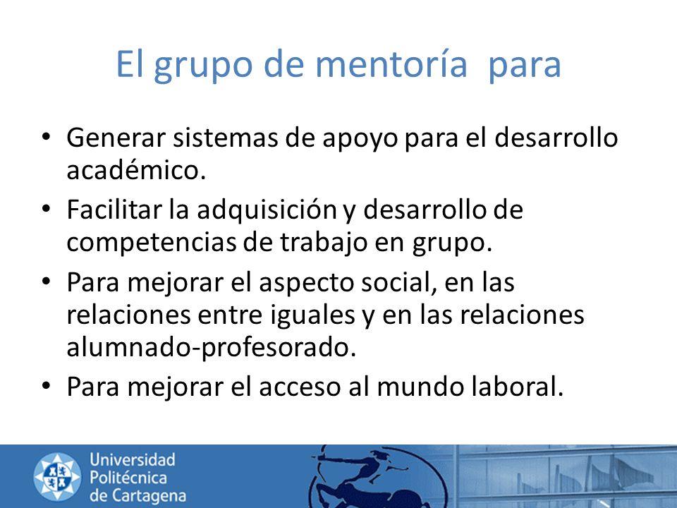 El grupo de mentoría para Generar sistemas de apoyo para el desarrollo académico. Facilitar la adquisición y desarrollo de competencias de trabajo en