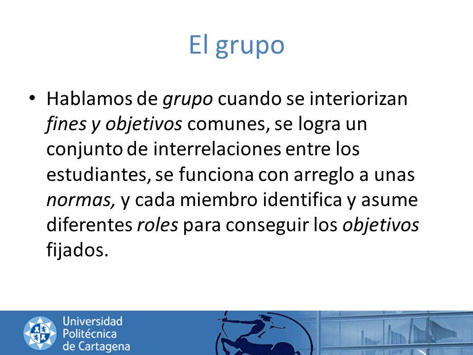 El grupo Hablamos de grupo cuando se interiorizan fines y objetivos comunes, se logra un conjunto de interrelaciones entre los estudiantes, se funcion