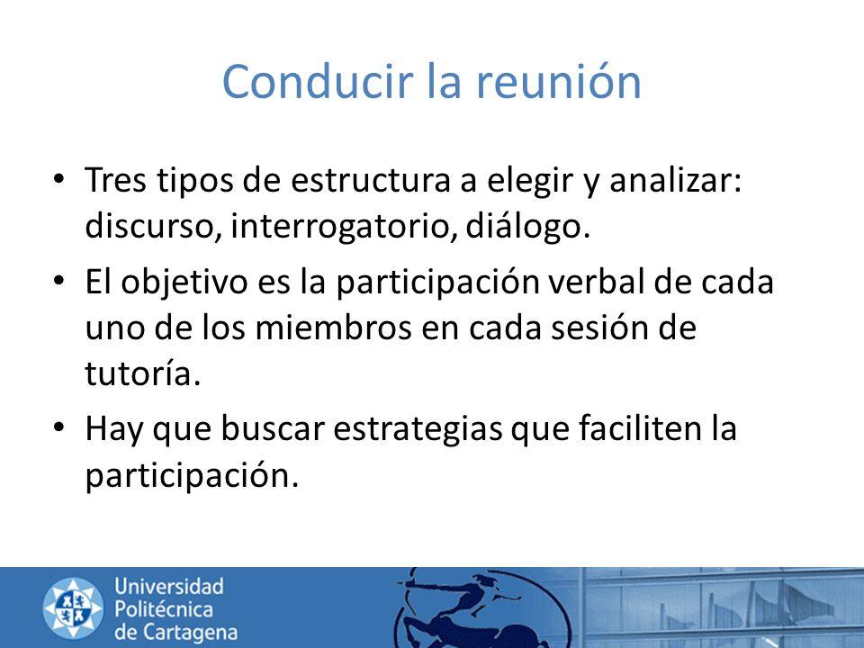 Conducir la reunión Tres tipos de estructura a elegir y analizar: discurso, interrogatorio, diálogo. El objetivo es la participación verbal de cada un