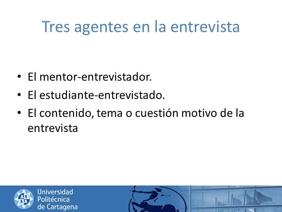 Tres agentes en la entrevista El mentor-entrevistador. El estudiante-entrevistado. El contenido, tema o cuestión motivo de la entrevista